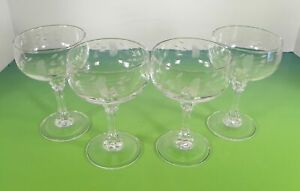 Princess House Crystal BORDEAUX Champagne Sherbet Goblet (s) LOT OF 4 Glass Stem
