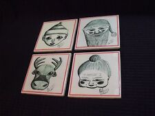 Set of (4) Unique Artist Drawn and Signed Christmas Character Ceramic Coasters