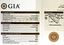 GIA certified loose round diamond .37ct VS2 L faint brown 4.71-4.79x2.68mm