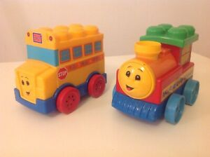 Mega Bloks First Builders Train and Bus Connect to First Builders Bricks Blocks