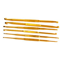 6Pcs Golden Aluminum Double End Crochet Hook 2.0 - 7.0mm E2T5
