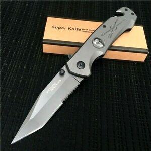 Folding Knife Pocket Assisted Flipper Hunting Combat Tactical High Carbon Steel