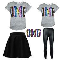 "Girls ""OMG"" Shiny Foil Print Crop Top & Black Wet Look PVC Legging Skirt Set"