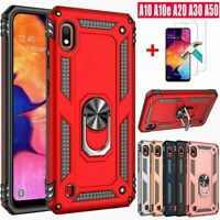 For Samsung Galaxy A10E A20 A30 A50 A20s Stand Hard Case Cover+Tempered Glass