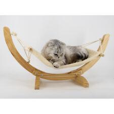 Pet Hammock Bed Wood Stand Dog Cat Warm Mat Comfy Plush Small Kitty-Beige