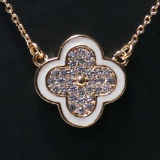 Moissanite Paved Clover Pendant Necklace Women Jewelry 14K Rose Gold Plated Gift