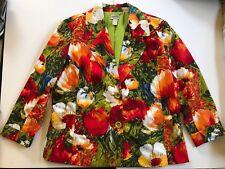 CHICO'S Women's Jacket Blazer Floral Red Bold Spring Size 3 XL Cotton Blend