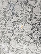"""ROSE FLORAL PAISLEY GUIPURE VENICE LACE FABRIC - White - 50"""" WIDTH SOLD BTY"""