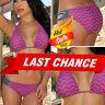 2PC Pink Grey Zig Zag Swimsuit Bikini Triangle Top Scrunch Bottoms Swimwear S-L