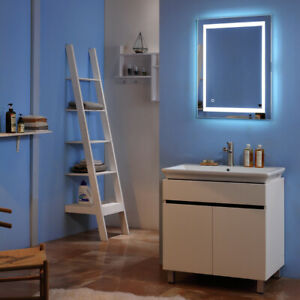 """32"""" X 32"""" Square Built-in Light Strip Touch LED Bathroom Mirror Silver US BR"""