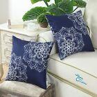 2Pcs Navy Cushions Covers Pillows Shell Vintage Dahlia Floral Print Sofa 45x45cm