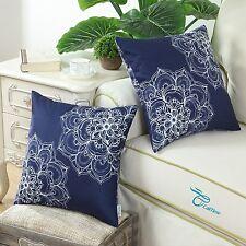 2pcs Cushions Covers Pillows Cases Vintage Dahlia Floral Print Sofa 45x45 Navy