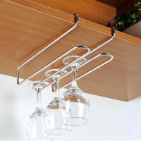 Stainless Wine Glass Rack Under Cabinet Hanger Hanging Stemware Holder Kitchen