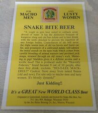 SNAKE BITE BEER / VINTAGE FOR MACHO MEN AND LUSTY WOMEN POSTER MINT MAN CAVE