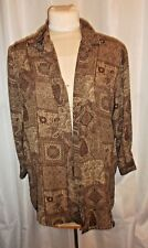 designs & co Lane Bryant 14/16 blouse brown button front long sleeve