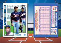 1984 Topps Style KIRBY PUCKETT (Rookie) Custom Artist Novelty Baseball Card