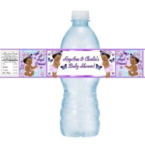 12 Vintage Ethnic Princess Baby Shower Water Bottle Stickers Butterflies Purple