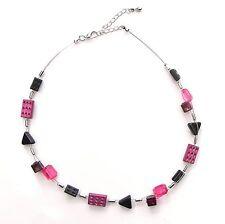 NEU 41cm+6cm EDELSTAHL COLLIER mit PERLEN in pink/schwarz HALSKETTE GLAS Blogger