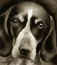 Bluetick Coonhound Art Print Sepia Watercolor Painting by Artist Djr