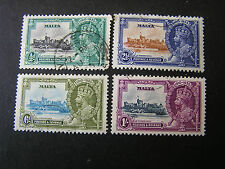 *MALTA, SCOTT # 184-187(4), 1935 SILVER JUBILEE ISSUE USED