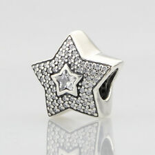 European Pandora .925 Sterling Silver Charms wishing star, clear cz