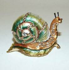 Snail Bejeweled & Enameled Hinged Trinket Box Swarovski Crystals