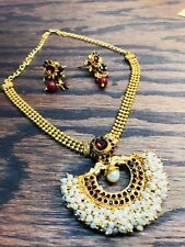 Indian Kundan Style Fashion Gold Plated Red & Green & white jewelry Necklace Set