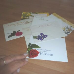 Large Funeral Floristry Message Cards 20 mixed sympathy flower cards 12.5 cm x 9