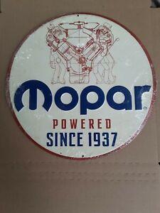 "Mopar Powered Since 1937 Embossed Tin 12"" Diameter"