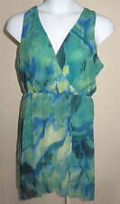 NEW Jeans by Buffalo Ladies Breezy DRESS Sz L Turquoise Sea Print Watercolor