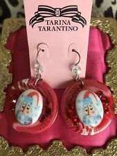 Tarina Tarantino Santa Claus Tie Dye Christmas Holiday Cameo Swarovski Earrings