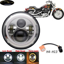 "7"" Chrome LED Headlight Projector Fits Honda Shadow VT VT1100 VT750 VF750 VT600"