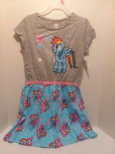 My Little Pony Grey Glitter Blue Sun Dress Size SM(6/6X) Licensed HASBRO Toy Co.