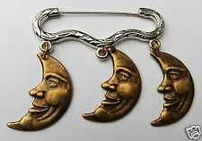 CELESTIAL MAN IN THE MOON GOLD AND SILVER TONE BROOCH / PIN