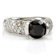 Gelin Abaci Black Diamond Ring w/ Pave Diamonds in 14K White Gold | FJ