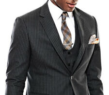 Custom Made Dark Grey Pinstripe Men Suit,Tailored Made Pinstriped Men Suit,Groom