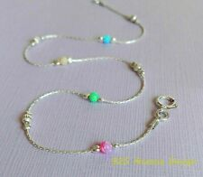 ANKLET OPAL 925 Sterling Silver Chain pink blue green yellow Ankle Bracelet