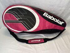 Babolat Tennis Raquet Bag Case front pocket Pink black white Strap & handle