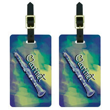 Clarinet - Musical Instrument Music Woodwinds Luggage Suitcase ID Tags Set of 2