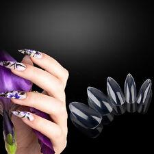 600Pcs Transparent Artificial Sharp Nail Art Tips Pointy Fake False Full Cover