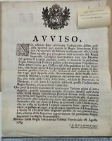 Milano Regno Austro Ungarico 1789 Avviso Appalto Riscaldamento mezzi militari