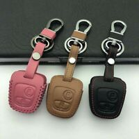 Car Key Cover Leather Case Key Chain For Citroen c4 c5 Peugeot 206 207 307 406