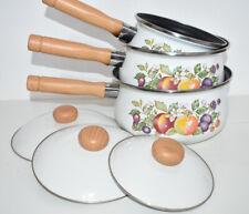 More details for vintage swan saucepan pan set 3 w/ lids 1980s fruit retro kitchen gas induction
