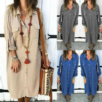 Plus Size Women's Ladies Buttoned Solid Casual Long-Sleeved Shirt Pocket Dress