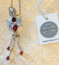 Swarovski Red Crystal Angel Sterling Silver Pendant 20 in Stainless Steel Chain