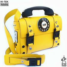Hi Tek yellow leather telephone handle unisex satchel shoulder bag handbag