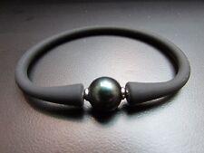 "Unisex Black Silicon Rubber Bracelet Black Pearl Stainless Steel Post 7.5"""