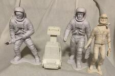 "Vintage Marx Astronaut Figures 5 1/2"" Tall Lot of 3 Hard Plastic White Spacemen"