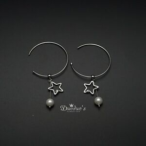 925 Sterling Silver Pearl & Star  Earrings Earrings