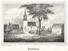 LAUTERBACH (NEUKIRCHEN) - TEILANSICHT MIT KIRCHE - Lithografie 1844